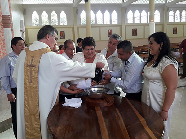 Baptism in restored chapel