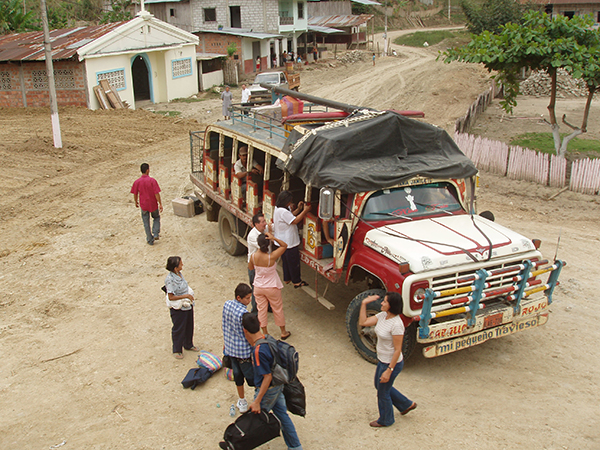 A bus collecting people