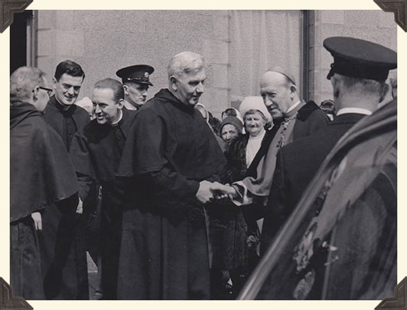 Arch-bishop McQuaid visiting Saint John's Lane Church, Dublin.