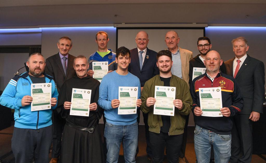 Brother Stephen and other referees being awarded a cert.