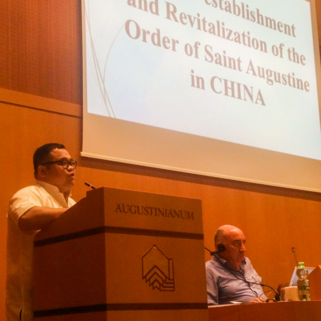 An Augustinian speaking at the General Chapter in Rome.