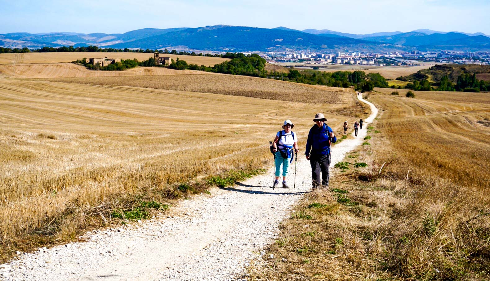 A group of people from the Limerick Augustinian Camino group walking along the Camino De Santiago.