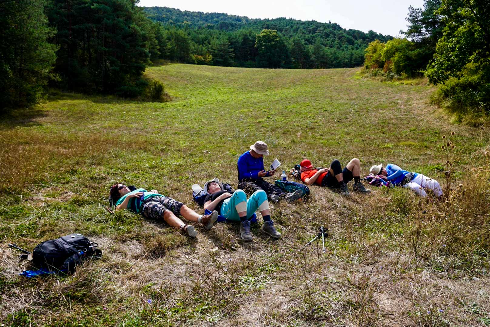 The Augustinian Camino group resting along the Camino De Santiago.