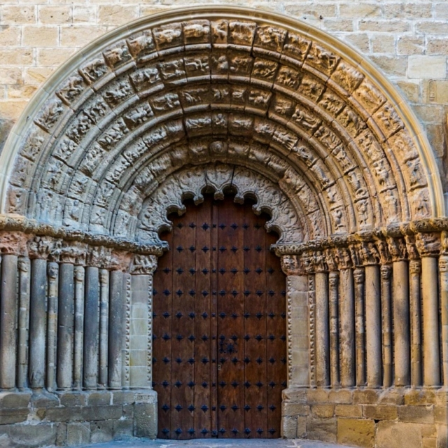 The doorway of a church.
