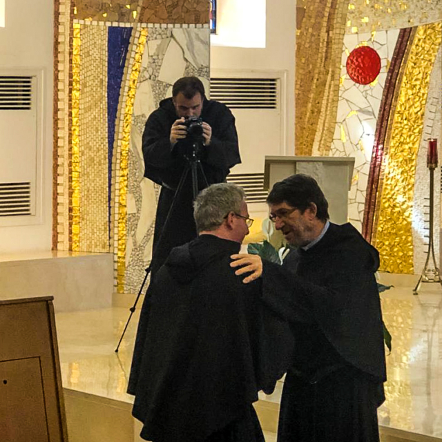 Fr. Colm O'Mahony greets the new Prior General of the Augustinians
