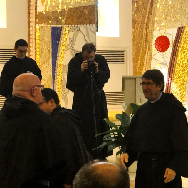 Fr. Noel Hession greets the new Prior General of the Augustinians