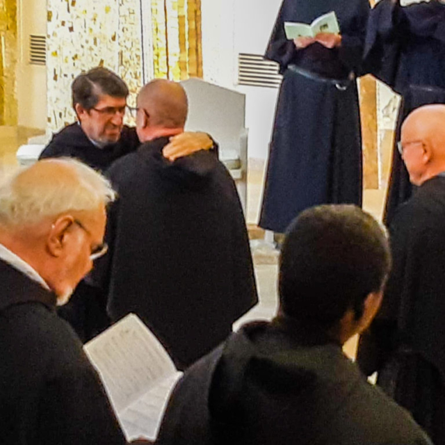 Fr. John Hennebry greets the new Prior General of the Augustinians