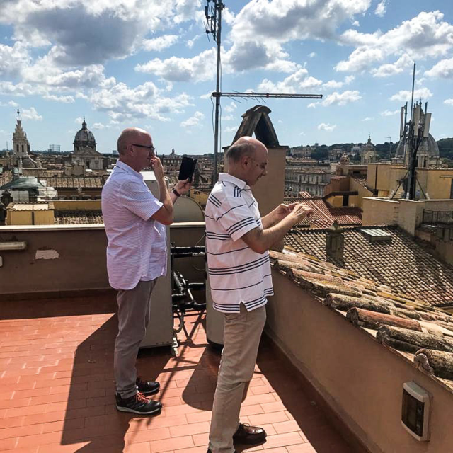 Two Augustinians on a roof top, overlooking Rome.