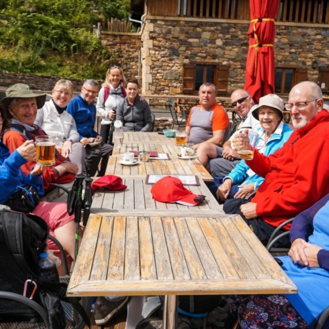 The Augustinian group from Limerick enjoying a drink and a rest along the Camino De Santiago.