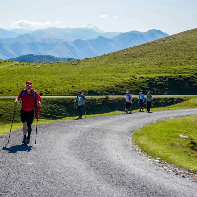 People walking along the route of the Camino De Santiago.