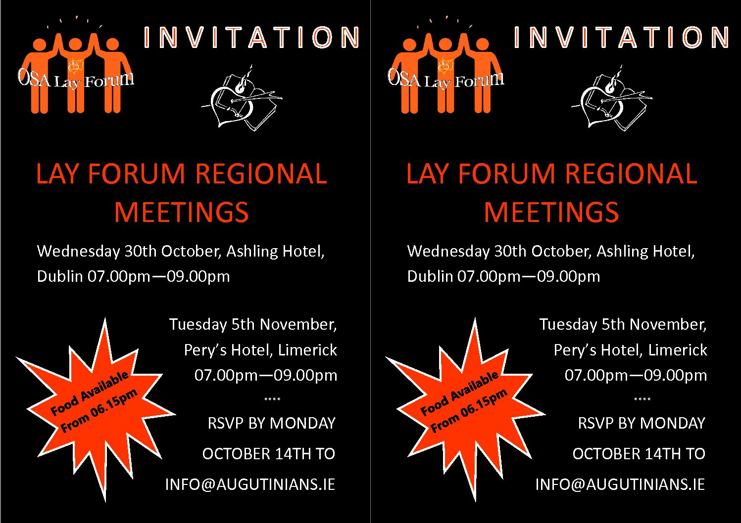 Poster for the upcoming Lay Forum events.