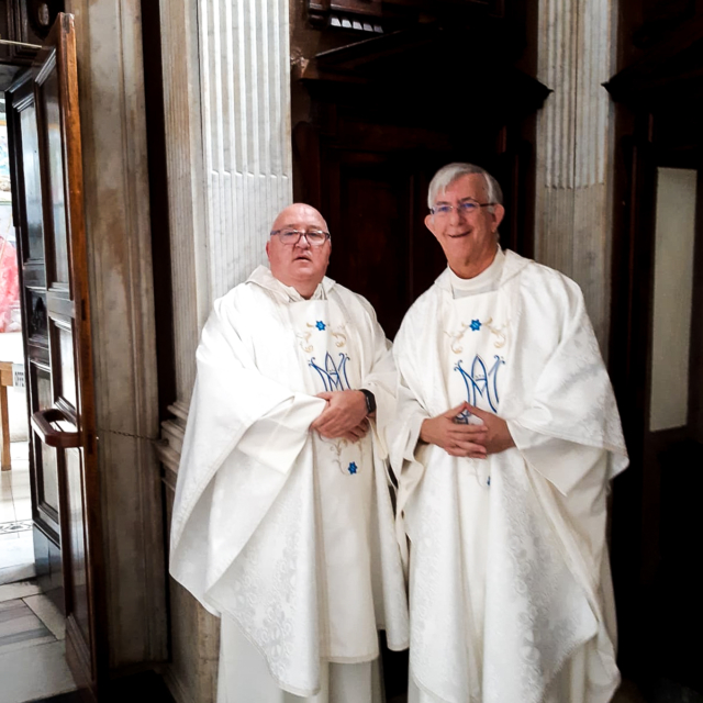 Two Augustinians waiting to celebrate mass.