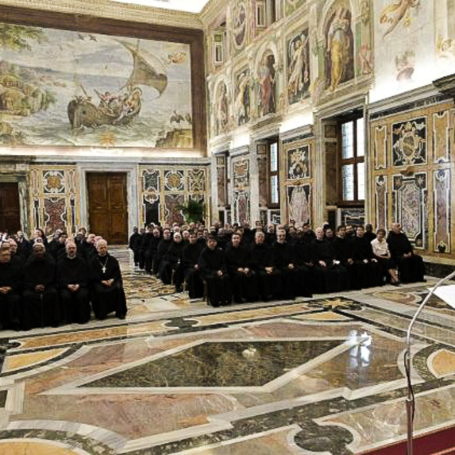 Pope Francis speaking to the Augustinian General Chapter, 2019.