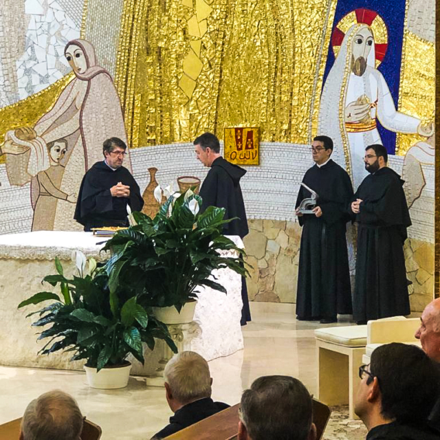 Fr. Alejandro Moral Antón, is elected as Prior General of the Augustinians, pictured here with a number of other Augustinians.