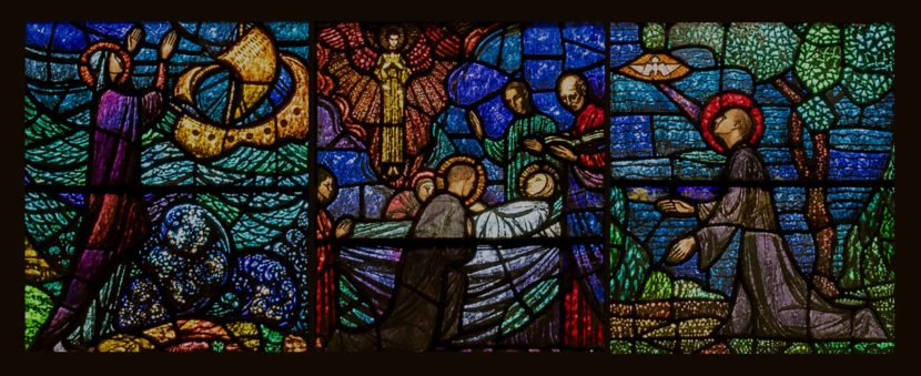 Stained glass images depicting Saint Augustine's Life