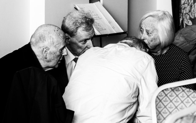 Four Lay Augustinians discussing ideas at the Augustinian Lay Forum Meeting, Limerick.