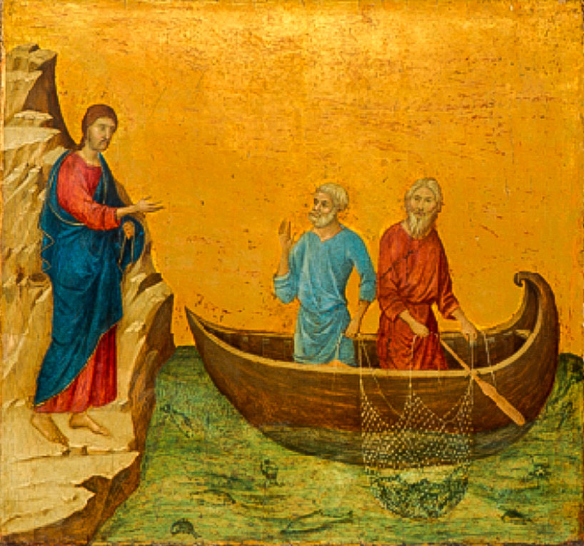 Icon of Jesus and two disciples.