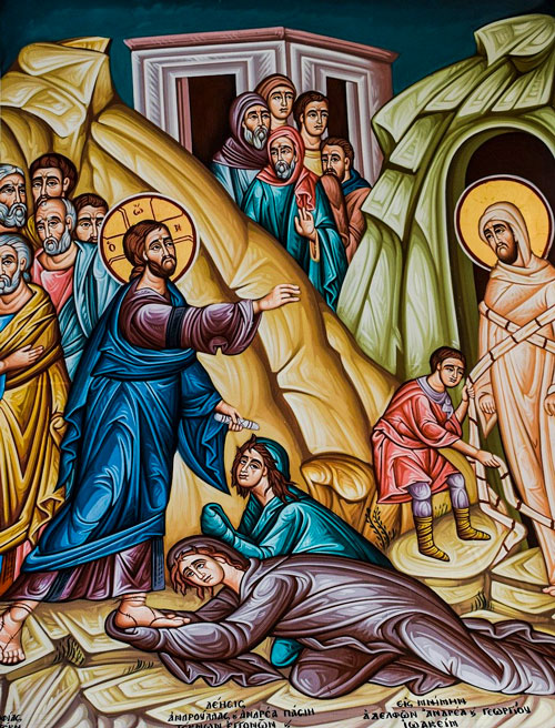 Icon of Jesus raising Lazarus.