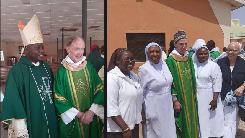 Fr. Ray Hickey OSA (RIP) with Archbishop Kaigama and with a group of sisters.