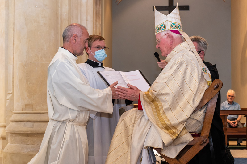 The Bishop officiating at Stephen's Diaconate Ordination.