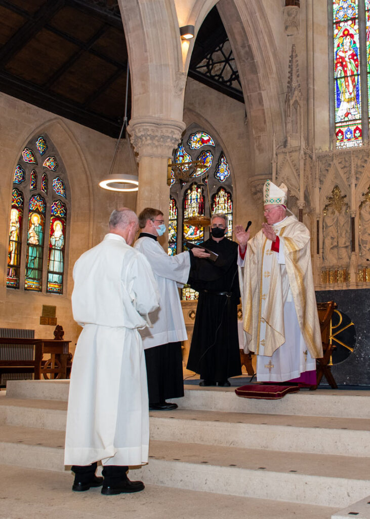 The Bishop's blessing at Stephen's Diaconate Ordination.